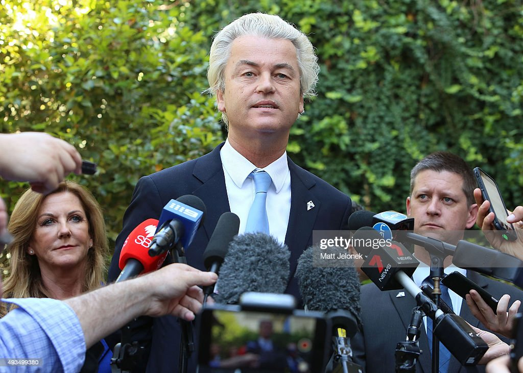Australian Liberty Alliance candidate Debbie Robinson, Geert Wilders and Bernard Gaynor during a media conference on October 21, 2015 in Perth, Australia. Mr Wilders launched the anti-Islam Australian Liberty Alliance political party on Tuesday night. The venue of the launch was kept secret to avoid protesters.