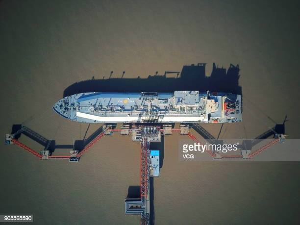 Australian liquefied natural gas tanker 'Southern Cross' sits docked at the LNG terminal of Yangkou port on January 15, 2018 in Rudong County, China....