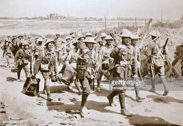 Australian machinegunners returning from the trenches France World War I 1916 During the Somme campaign Artist Unknown