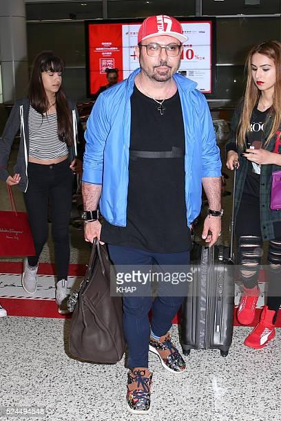 Australian makeup artist Napoleon Perdis is seen upon arrival at Sydney Airport with his daughters Alexia Perdis Angelene Perdis Athina Perdis and...