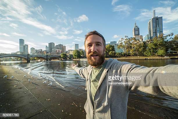 Australian man takes selfie portrait in Melbourne