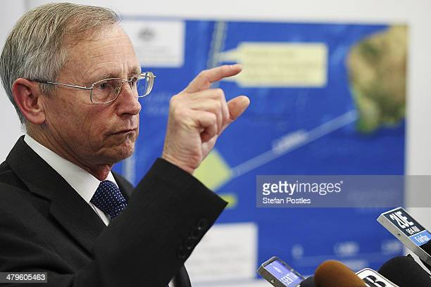 Australian Maritime Safety Authority Emergency Response Division General Manager John Young speaks to the media about satellite imagery of objects...