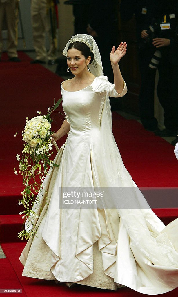Australian Mary Donaldson arrives at Copenhagen Cathedral, 14 May 14 2004 to be married to Denmark's Crown Prince Frederik. AFP PHOTO/ Keld Navntoft/SCANPIX