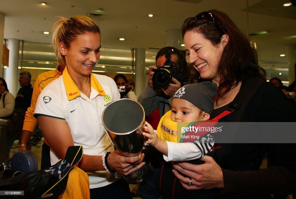 Australian Team Arrive Home After Winning AFC Women's Asian Cup : News Photo