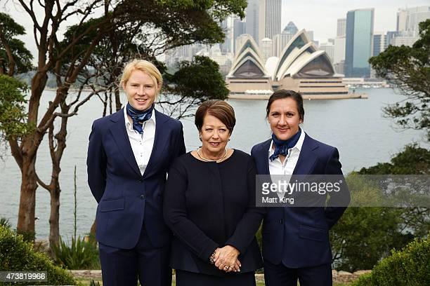 Australian Matildas cocaptains Clare Polkinghorne and Lisa De Vanna pose with Lady Cosgrove during the Australian Matildas GovernorGeneral Farewell...