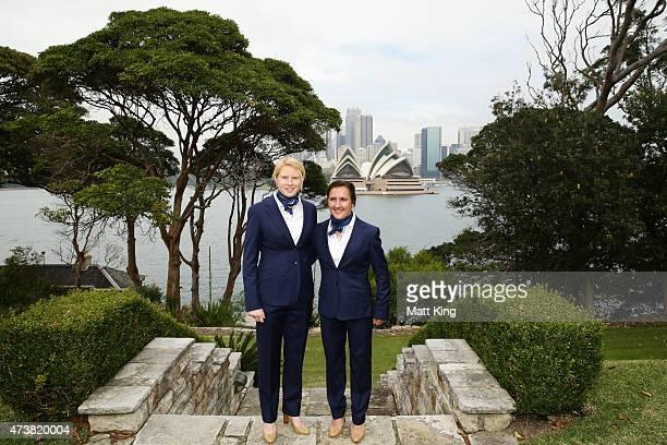 Australian Matildas cocaptains Clare Polkinghorne and Lisa De Vanna pose during the Australian Matildas GovernorGeneral Farewell Function Captain...