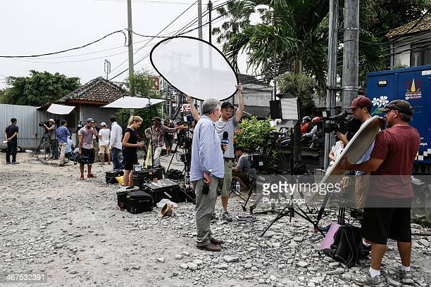 Australian media gather in front of Kerobokan prison on February 7 2014 in Denpasar Bali Indonesia Australian Drug trafficker Schapelle Corby whose...