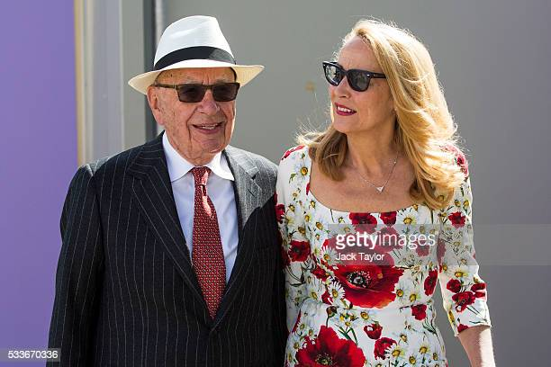 Australian media magnate Rupert Murdoch and American former model Jerry Hall attend the Chelsea Flower Show on May 23 2016 in London England The...