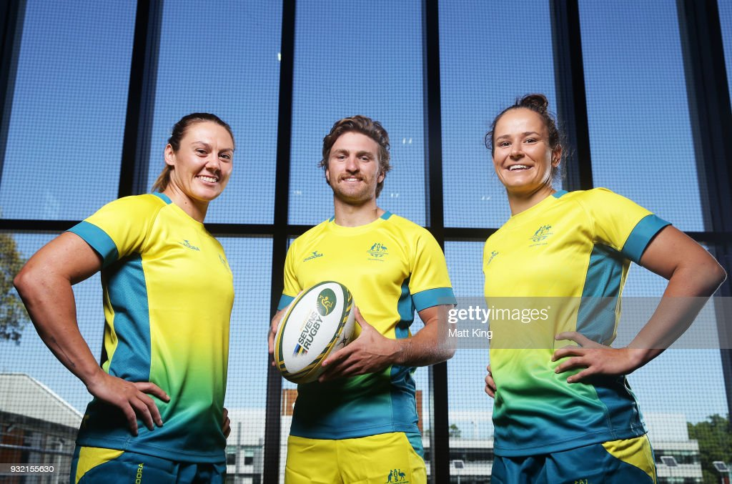 Australian Men's Sevens team captain Lewis Holland poses with Australian Women's Sevens team captains Sharni Williams (L) and Shannon Parry (R) during the Australian Rugby Sevens Commonwealth Games Teams Announcement at the Rugby Australia building on March 15, 2018 in Sydney, Australia.
