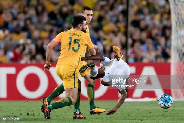 Australian Mile Jedinak and Honduras Bryan Acosta come together at the Soccer World Cup Qualifier between Australia and Honduras on November 15 2017...
