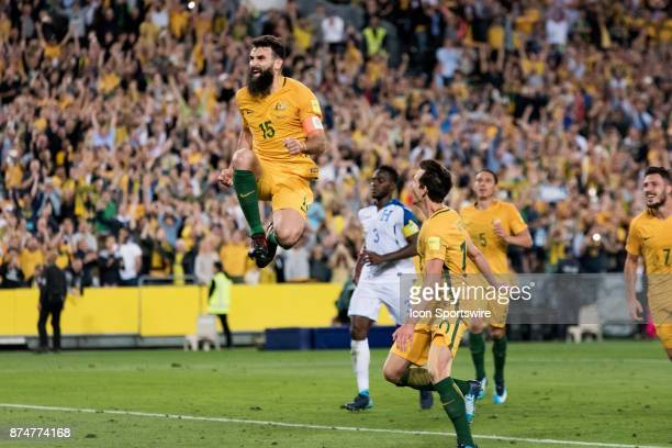 Australian Mile Jedinak celebrates his goal at the Soccer World Cup Qualifier between Australia and Honduras on November 15 2017 at Stadium Australia...