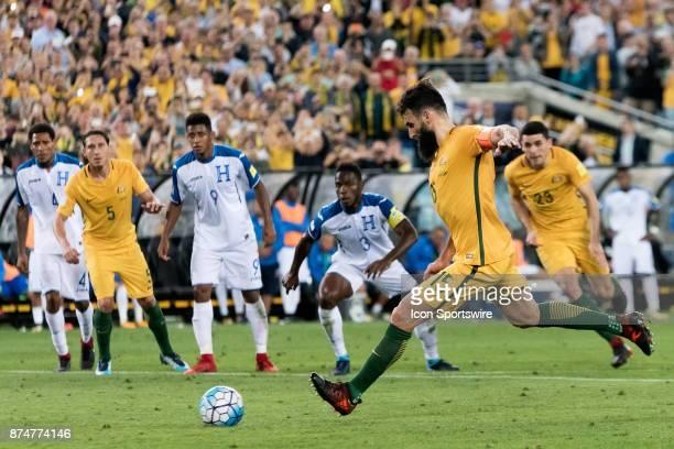 Australian Mile Jedinak kicks the goal at the Soccer World Cup Qualifier between Australia and Honduras on November 15 2017 at Stadium Australia in...