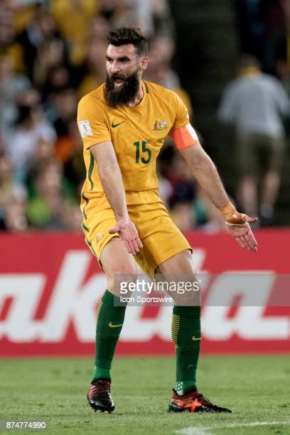 Australian Mile Jedinak unhappy with the call at the Soccer World Cup Qualifier between Australia and Honduras on November 15 2017 at Stadium...