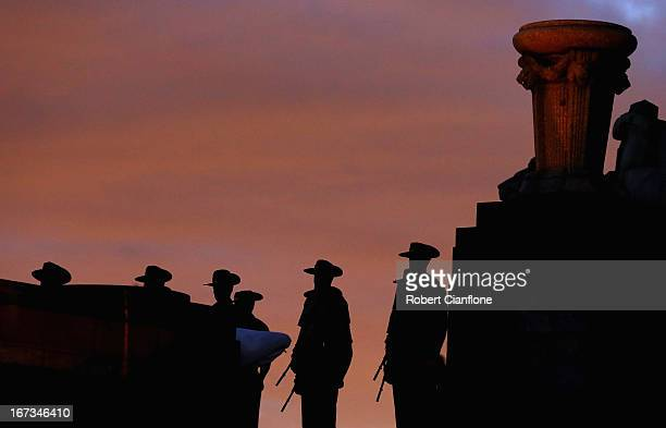 Australian military personel are seen at the Shrine of Rememberence during the dawn service on April 25 2013 in Melbourne Australia Veterans...