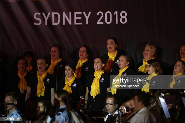 Australian Military Wives Choir perform during the Invictus Games Sydney 2018 Opening Ceremony at Sydney Opera House on October 20, 2018 in Sydney,...