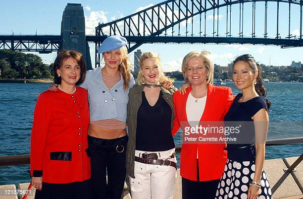 Australian Minister for Arts Sandra Nori Cameron Diaz Drew Barrymore Sydney Lord Mayor Lucy Turnbull and Lucy Liu after a press conference to promote...