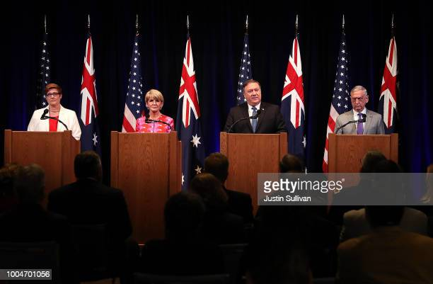 Australian Minister for Defence Marise Payne Australian Minister for Foreign Affairs Julie Bishop US Secretary of State Mike Pompeo and US Secretary...