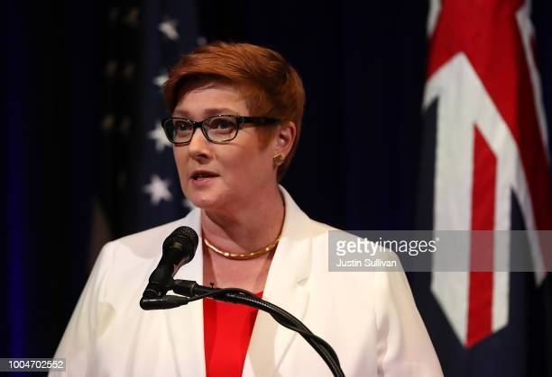 Australian Minister for Defense Marise Payne speaks during a press conference at the Australia-U.S. Ministerial Consultations at the Hoover...