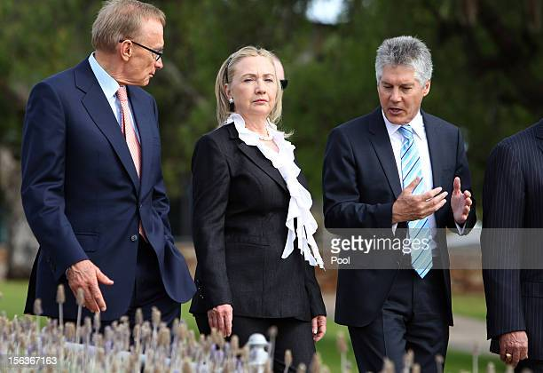 Australian Minister for Defense Stephen Smith US Secretary of State Hillary Clinton and Australian Foreign Minister Bob Carr attend a wreathlaying...