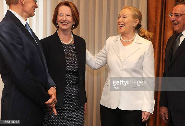 Australian Minister for Foreign Affairs Bob Carr Australian Prime Minister Julia Gillard US Secretary of State Hillary Clinton and US Secretary of...