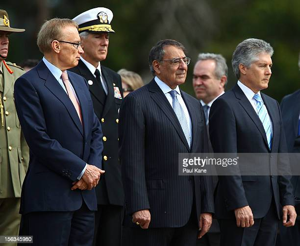 Australian Minister for Foreign Affairs Bob Carr US Secretary of Defense Leon Panetta and Australian Minister for Defense Stephen Smith stand to...
