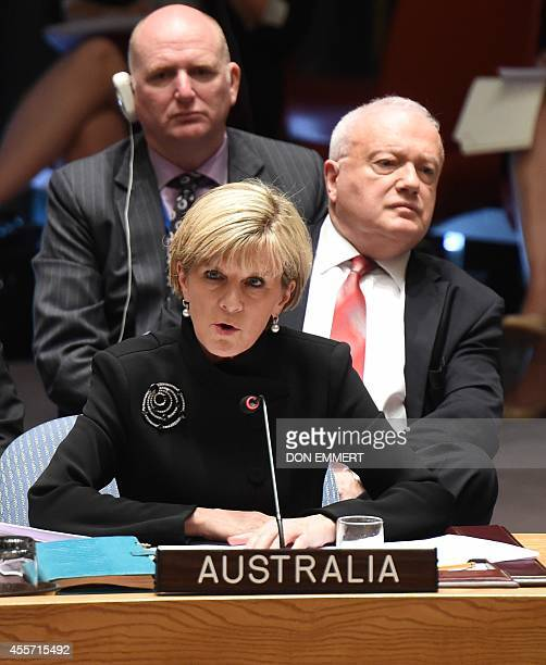 Australian Minister for Foreign Affairs Julie Bishop addresses the United Nations Security Council meeting September 19 2014 at the United Nations in...