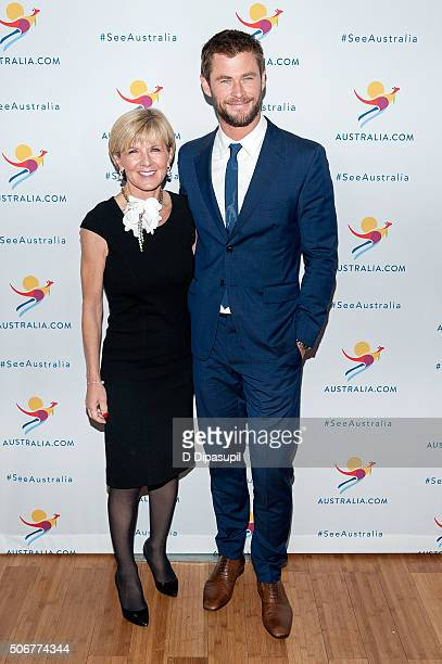 Australian Minister for Foreign Affairs Julie Bishop and Chris Hemsworth attend the There's Nothing Like Australia campaign launch at Celsius at...