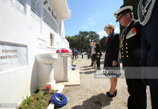 Australian Minister for Foreign Affairs Julie Bishop leaves flowers to the memorial as she attends a ceremony at French Memorial on Gallipoli...