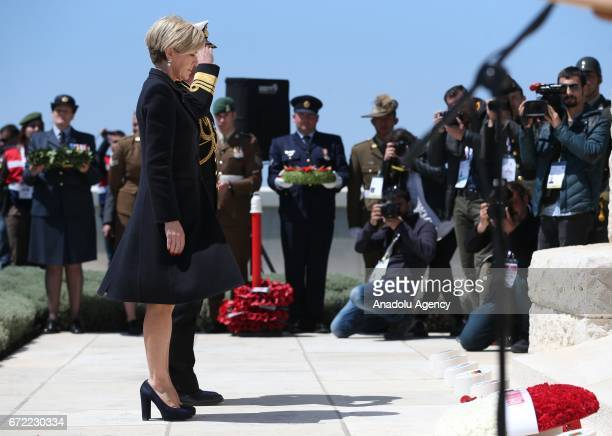 Australian Minister for Foreign Affairs Julie Bishop leaves flowers to the memorial during a ceremony at Commonwealth of Nations Memorial on...