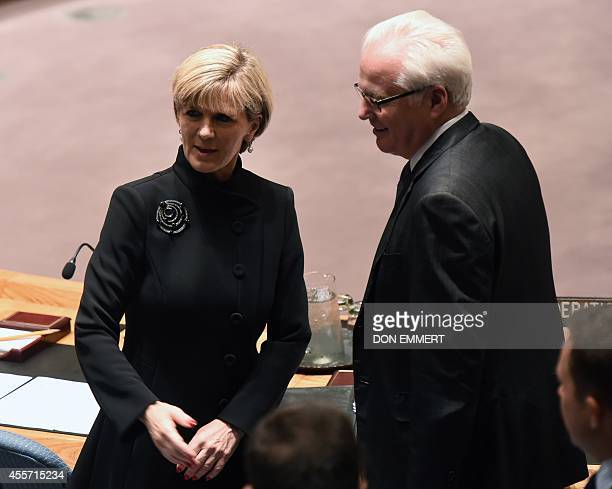 Australian Minister for Foreign Affairs Julie Bishop talks with Russia's Ambassador to the UN Vitaly Churkin before a meeting of the United Nations...
