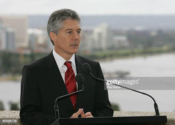 Australian Minister for Foreign Affairs Stephen Smith talks to the media during a press conference with US Secretary of State Condoleezza Rice at...