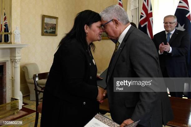 Australian Minister for Indigenous Australians Ken Wyatt receives a hongi from New Zealand Minister of Maori Development and Local Government Nanaia...