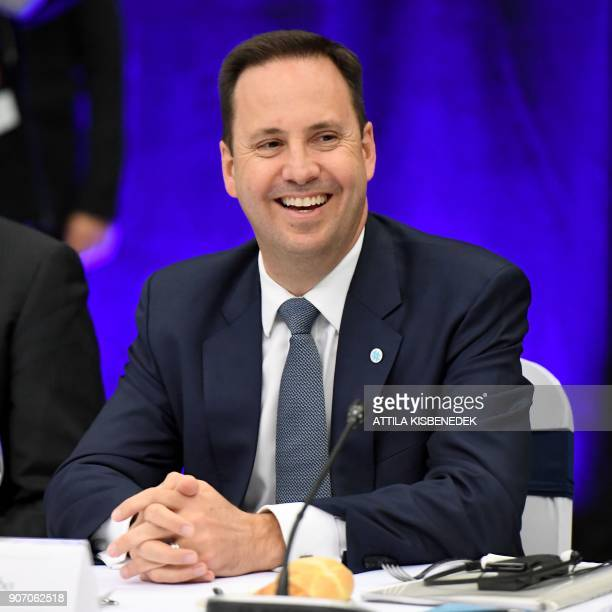 Australian minister for Trade tourism and investment Steven Ciobo attends a meeting of the Visegrads countries on economic relations with Australia...