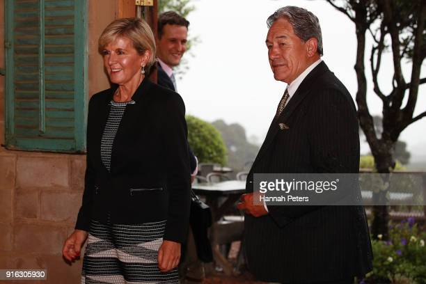 Australian Minister of Foreign Affairs Julie Bishop arrives with New Zealand Deputy Prime Minister Winston Peters at Mudbrick vineyard on February 10...