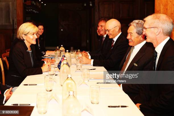Australian Minister of Foreign Affairs Julie Bishop speaks with New Zealand Deputy Prime Minister Winston Peters at Mudbrick on February 10 2018 in...