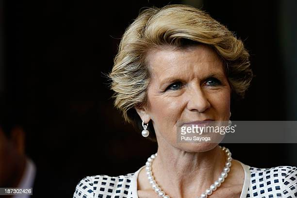 Australian Minister of Foreign Affairs Julie Bishop talks at a press conference during Bali Democracy Forum VI on November 8 2013 in Denpasar Bali...