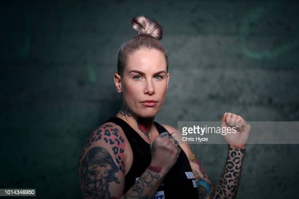 Australian mixed martial artist and bare knuckle fighter Bec Rawlings poses for a portrait session at United Fight Centre on August 10 2018 in...