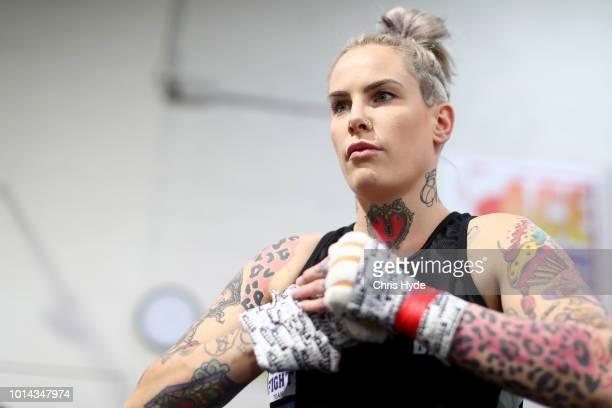 Australian mixed martial artist and bare knuckle fighter Bec Rawlings during a training session at United Fight Centre on August 10 2018 in Brisbane...