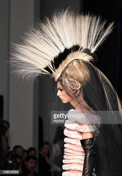 Australian model Andreja Pejic presents a creation by French designer Jean Paul Gaultier during the SpringSummer 2011 Haute Couture Collection Show...