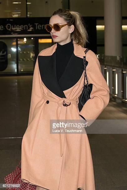 Australian model, Andreja Pejic seen arriving at London Heathrow Airport on November 5, 2016 in London, England.