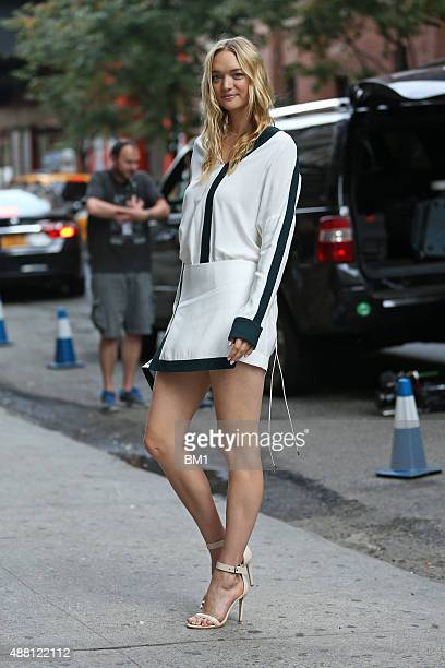 Australian model Gemma Ward arrives at the Dion Lee fashion show on September 12 2015 in New York City