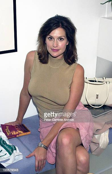 Australian model Kate Fischer attends the launch of the book 'Repeating The Leaving' by Charles Waterstreet at the Hyde Park Club on April 11 2001 in...