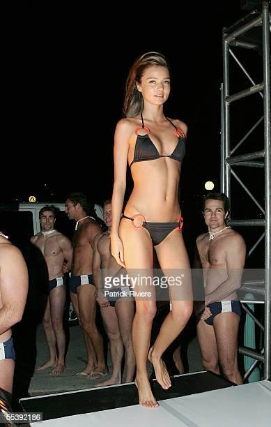 Australian model Miranda Kerr walks the runway in Jodhi Mears's Tigerlily swimsuit at the opening party for Nick's Bondi Beach Pavilion on September...