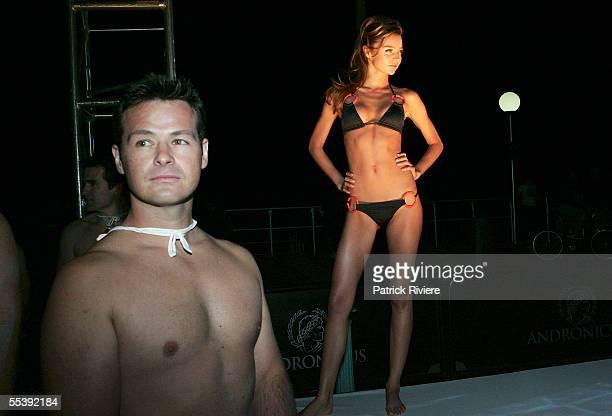Australian model Miranda Kerr walks the runway in Jodhi Mears's Tiger Lily swimsuit at the opening party for Nick's Bondi Beach Pavilion on September...