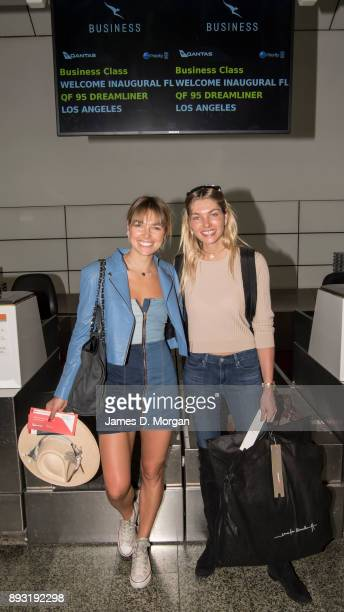 Australian models Ashley Hart and Jessica Hart pose at Qantas check in for the inaugural Dreamliner flight on December 15 2017 in Melbourne Australia...