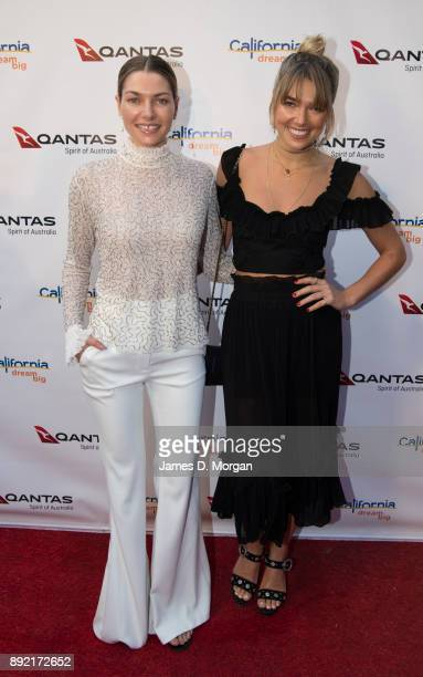 Australian models sisters Jessica Hart and Ashley Hart attend a party hosted by Qantas to celebrate their first Dreamliner from Melbourne to Los...