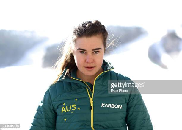Australian Mogul Skier Britt Cox poses during previews ahead of the PyeongChang 2018 Winter Olympic Games at Alpensia on February 6 2018 in...