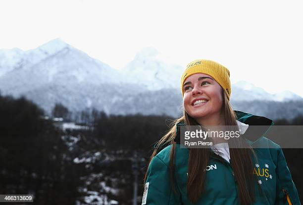 Australian Mogul Skier Britt Cox poses following an Australian Olympic Team press conference at Rosa Khutor Mountain Village Cluster on February 1...