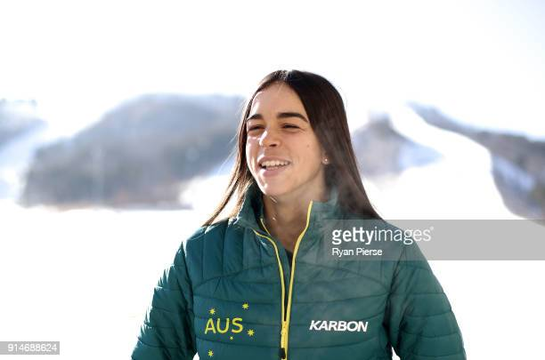 Australian Mogul Skier Jakara Anthony poses during previews ahead of the PyeongChang 2018 Winter Olympic Games at Alpensia on February 6 2018 in...