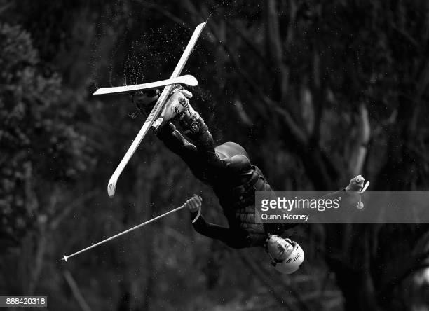 Australian mogul skier Matt Graham goes off the water jump during an Australian Ski Jump training session on October 31, 2017 in Melbourne, Australia.